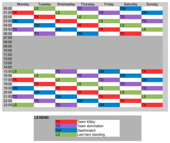 Event schedule in L2Vanir.